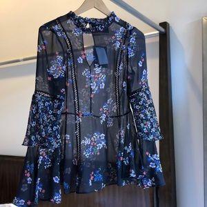 Nicholas navy blue floral blouse size 4